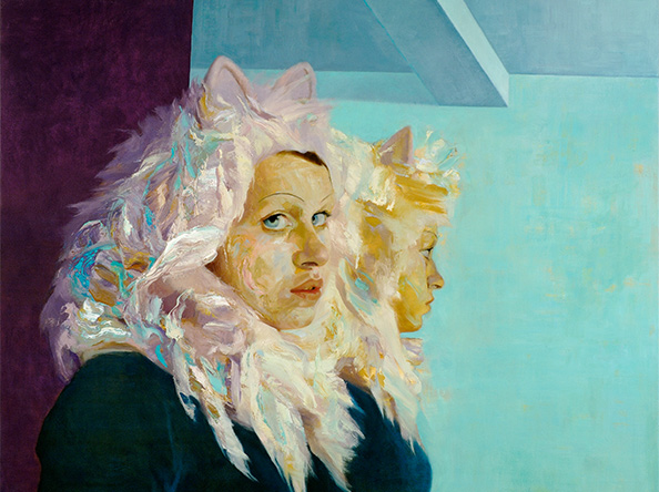 LORRAINE SIMMS Lacey in a Cat Suit Oil on canvas