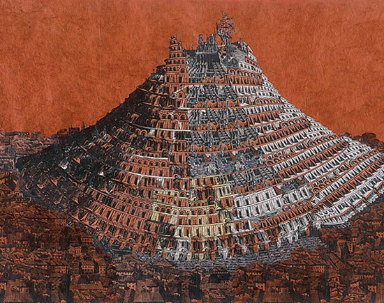 ANNE DESMET  Tower of Babel (Sandstone) Wood engraving, linocut, flexograph print, black pen & collage on paper
