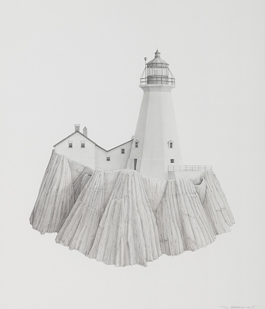 TIB BEAMENT Lighthouse on Barnacles Pencil / pastel