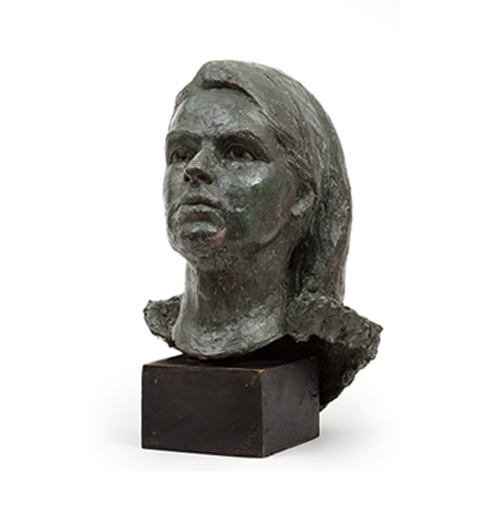 DOUGLAS COCKER Girl's Head Bronze sculpture